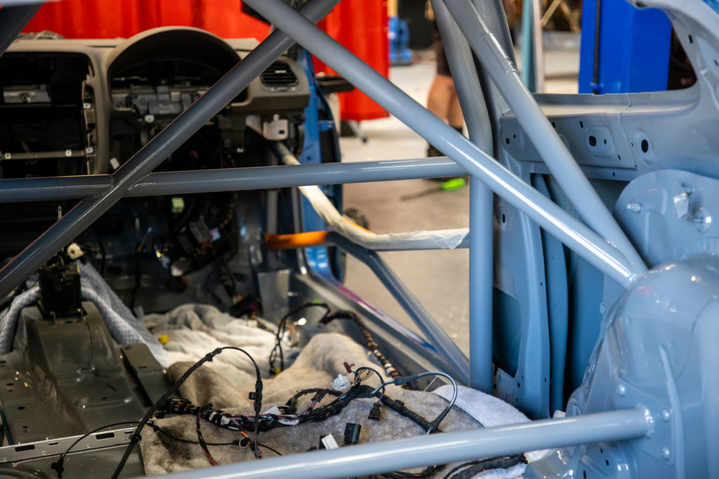 Roll cage in a Volkswagen Scirocco R track car Built by M-Development Queeenstown