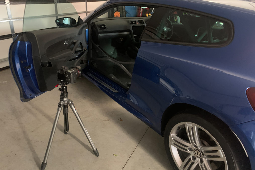 Setting up for car photography of Scirocco R
